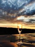 Een champagneglas houdt een aardbei en een gekoelde ontploffing van het rieseling stock fotografie