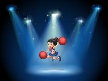 Een cheerleader die in het midden van het stadium springen stock illustratie
