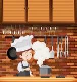 Een Chef-kok Cooking in Keuken vector illustratie