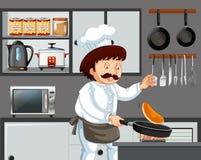 Een Chef-kok Cooking Pancake in Keuken stock illustratie