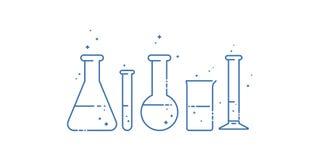 Een chemische fles Geplaatste pictogrammen Materiaal voor chemisch laboratorium Het Ontwerp van de lijn Vector vector illustratie