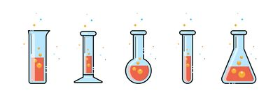 Een chemische fles Geplaatste pictogrammen Materiaal voor chemisch laboratorium Het Ontwerp van de lijn Vector royalty-vrije illustratie