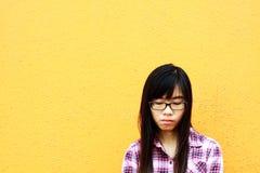 Een Chinees meisje dat zeer droevig is. Stock Fotografie