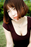 Een Chinees meisje in de tuin Royalty-vrije Stock Foto