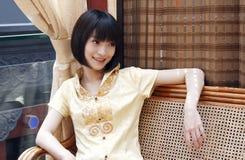 Een Chinees meisje met een glimlach. royalty-vrije stock foto