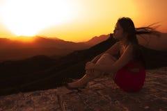 Een Chinees meisje op berg Royalty-vrije Stock Fotografie