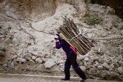 Een Chinese vrouw draagt terug de takken op haar stock foto's