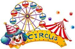 Een circusuithangbord met een clown en een tent Stock Afbeeldingen