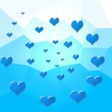 Een cirkel van blauwe harten Stock Afbeelding