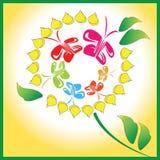 Een cirkel van vlinders op een bloem Stock Afbeelding