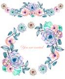 Een cirkelkader, een kroon en een kadergrens (slinger) met de waterverf bloeien en succulents, huwelijksuitnodiging stock illustratie