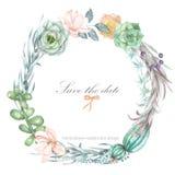 Een cirkelkader, kroon, kadergrens met de waterverf bloeit en succulents, huwelijksuitnodiging vector illustratie