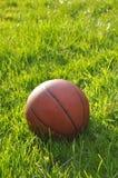 Een close-up van basketbal op groen gras Stock Fotografie