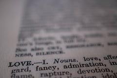 Een close-up van de woordliefde stock afbeelding
