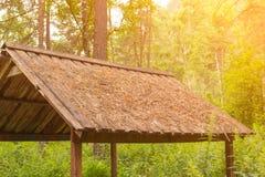 Een close-up van een houten dak van een gazebo die zich in groene FO bevinden stock foto's