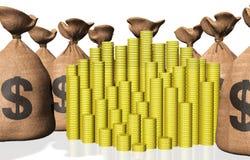 Stapels muntstukken en zakken geld Royalty-vrije Stock Afbeeldingen