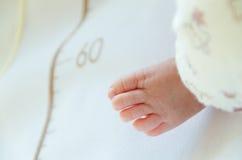 Een close-up van uiterst kleine babyvoet stock foto