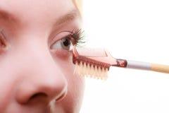 Een close-updeel van het detail van de het oogmake-up van het vrouwengezicht Stock Foto's