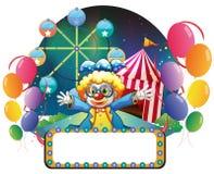 Een clown in Carnaval met lege signage stock illustratie