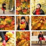Een collage van beelden met een vrouw in de kleren van de Herfst Royalty-vrije Stock Afbeelding