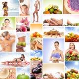 Een collage van beelden met verse vruchten en ontspannende vrouwen stock foto