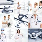 Een collage van medische beelden met artsen en hulpmiddelen Stock Afbeeldingen