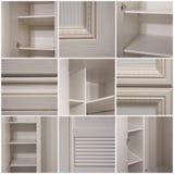 Een collage van negen foto's Woonkamer, eetkamer, slaapkamer stock afbeeldingen