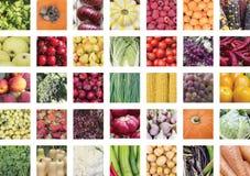 Een collage van plantaardige eetbare ingrediënten Stock Afbeeldingen