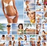 Een collage van toevluchtbeelden met jonge vrouwen Stock Fotografie