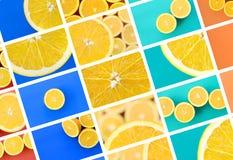 Een collage van vele beelden met sappige sinaasappelen Reeks beelden met vruchten en verschillende kleuren royalty-vrije stock foto's