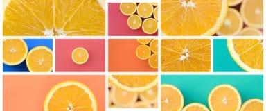 Een collage van vele beelden met sappige sinaasappelen Reeks beelden met vruchten en verschillende kleuren stock foto's