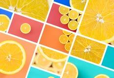Een collage van vele beelden met sappige sinaasappelen Reeks beelden met vruchten en verschillende kleuren stock afbeelding