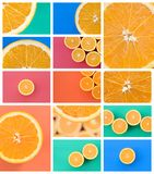 Een collage van vele beelden met sappige sinaasappelen Reeks beelden met vruchten en verschillende kleuren royalty-vrije stock afbeelding