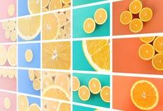 Een collage van vele beelden met sappige sinaasappelen Reeks beelden met vruchten en verschillende kleuren royalty-vrije stock fotografie