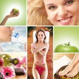Een collage van verschillende gezondheidszorgbeelden stock afbeelding