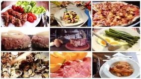 Een collage van verschillende voedselschotels stock videobeelden