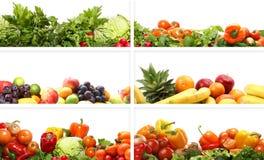 Een collage van verse en smakelijke vruchten en groenten Stock Fotografie
