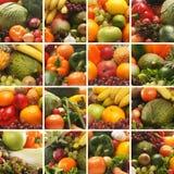 Een collage van verse en smakelijke vruchten en groenten stock foto's