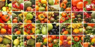 Een collage van verse en smakelijke vruchten en groenten Stock Afbeelding