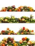 Een collage van verse en smakelijke vruchten en groenten Stock Foto