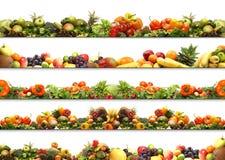 Een collage van verse en smakelijke vruchten en groenten Stock Afbeeldingen