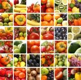 Een collage van voedingsbeelden met verse vruchten Stock Fotografie