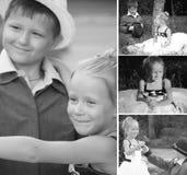 Een collage van zwart-witte foto'sjongens en meisjes Royalty-vrije Stock Fotografie