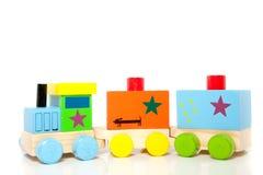 Een colorfol houten toytrain Royalty-vrije Stock Afbeeldingen