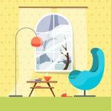 Een comfortabele plaats in de lezingsruimte met een modieuze leunstoel, een lamp en een kleine boeklijst met boeken en een hete k royalty-vrije illustratie