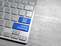 Een computertoetsenbord, online bank, Internet-bank Stock Foto's