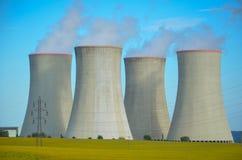 Een concept vernieuwbare groene energie: een madeliefje en een gras over het symbool van gebroken kernenergie stock afbeeldingen