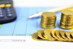 Een conceptenbeeld van Geld, calculator, pen royalty-vrije stock fotografie