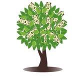 Een conceptuele illustratie van een boom het groeien geld in de vorm van dollarnota's Vector Illustratie