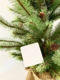 Een Cristmas-boom met wenskaart stock afbeelding